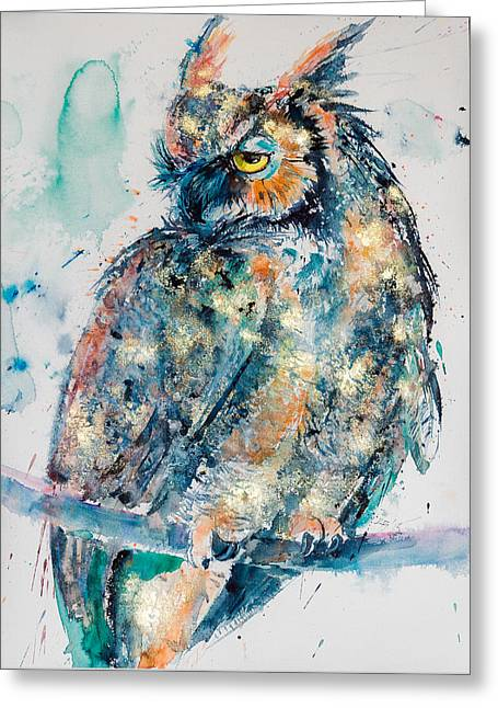 Great Horned Owl In Gold Greeting Card by Kovacs Anna Brigitta