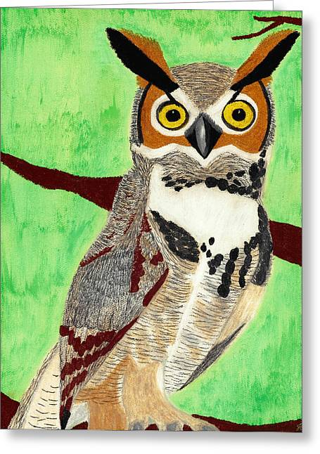 Great Birds Pastels Greeting Cards - Great Horned Owl Greeting Card by Jessica Foster