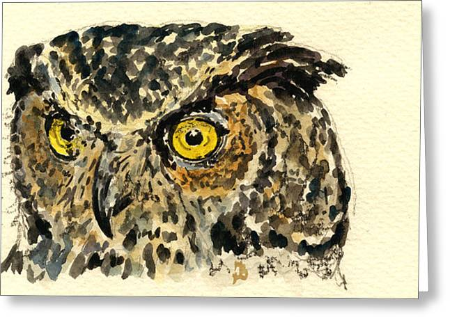 Nocturnal Paintings Greeting Cards - Great Horned Owl Greeting Card by Juan  Bosco