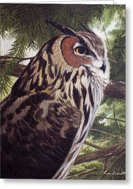 Great Paintings Greeting Cards - Great Horned Owl Greeting Card by Ken Everett