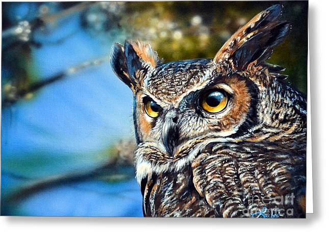 Photorealism Greeting Cards - Great Horned Owl Greeting Card by Lisa Clough Lachri