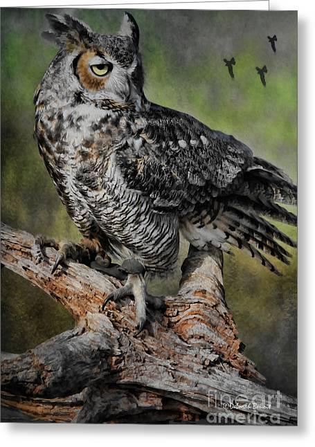 Hunting Bird Greeting Cards - Great Horned Owl on Branch Greeting Card by Deborah Benoit