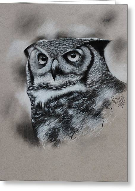 Photorealism Pastels Greeting Cards - Great-Horned Owl Greeting Card by Samantha Howell