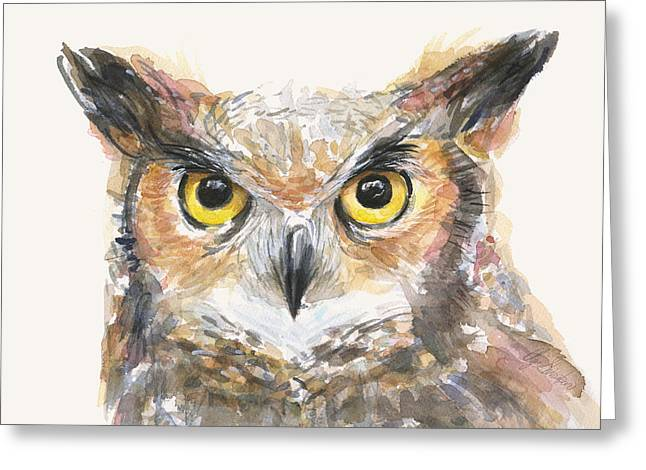 Owl Decor Greeting Cards - Great Horned Owl Watercolor Greeting Card by Olga Shvartsur