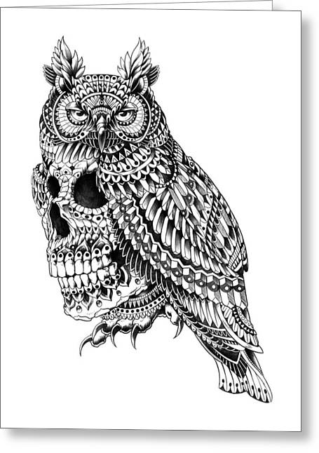 Drawings Greeting Cards - Great Horned Skull Greeting Card by BioWorkZ