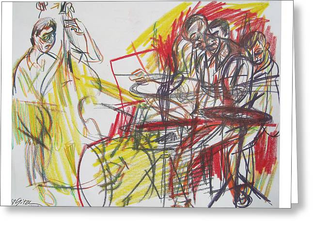 Animation Drawings Greeting Cards - GreaT JazZ Greeting Card by Gita Lloyd