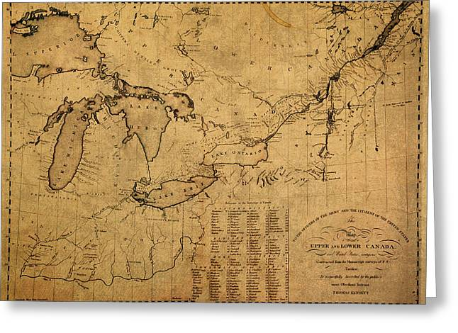 Canada Mixed Media Greeting Cards - Great Lakes and Canada Vintage Map on Worn Canvas Circa 1812 Greeting Card by Design Turnpike