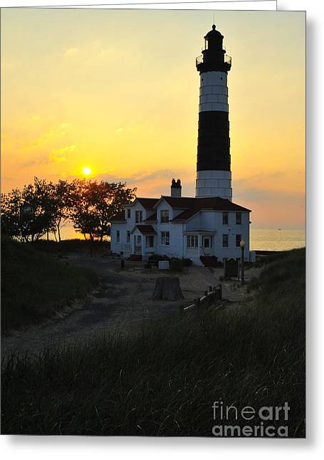 Dusk Greeting Cards - Great Lakes Lighthouse Big Sable Point Greeting Card by Terri Gostola