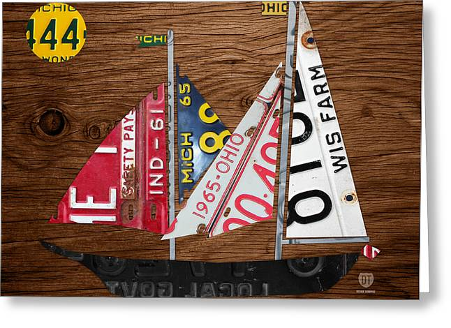 Sailboat Art Greeting Cards - Great Lakes States Sailboat Recycled Vintage License Plate Art on Wood Greeting Card by Design Turnpike