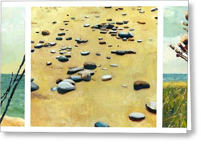 Beach Landscape Greeting Cards - Great Lakes Triptych Greeting Card by Michelle Calkins