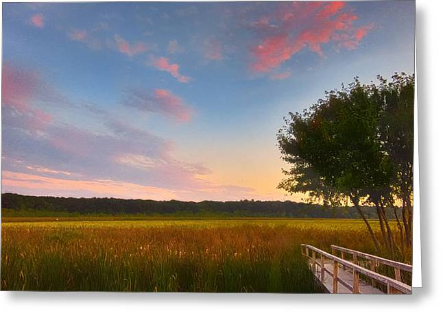 Concord Greeting Cards - Great Meadows Late Summer Setting Greeting Card by Sylvia J Zarco