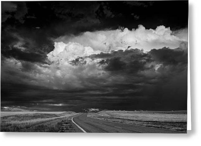 White Roads Greeting Cards - Great Plains Storm B W Greeting Card by Steve Gadomski