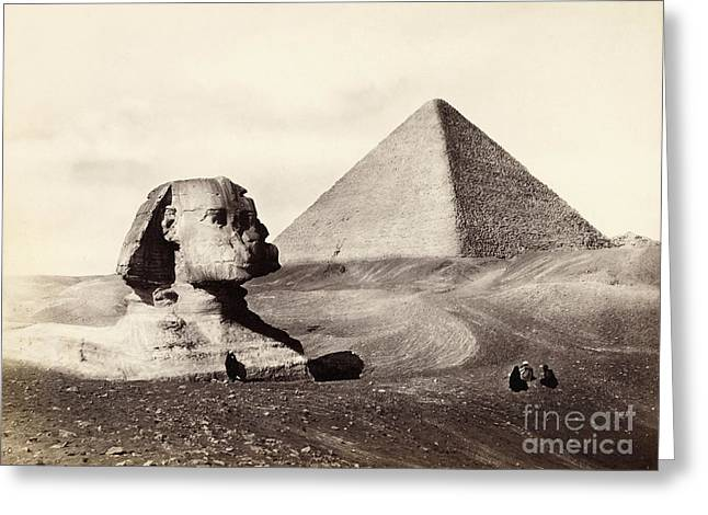 Frith Greeting Cards - Great Pyramid And The Sphinx 1858 Greeting Card by Getty Research Institute