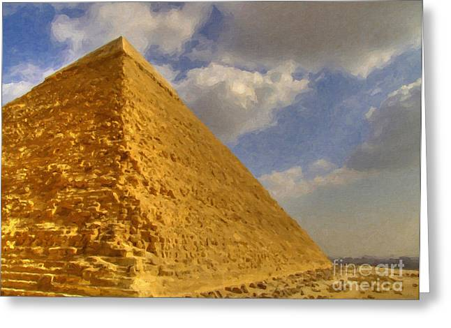 The Mummy Greeting Cards - Great Pyramid Painting Greeting Card by Antony McAulay