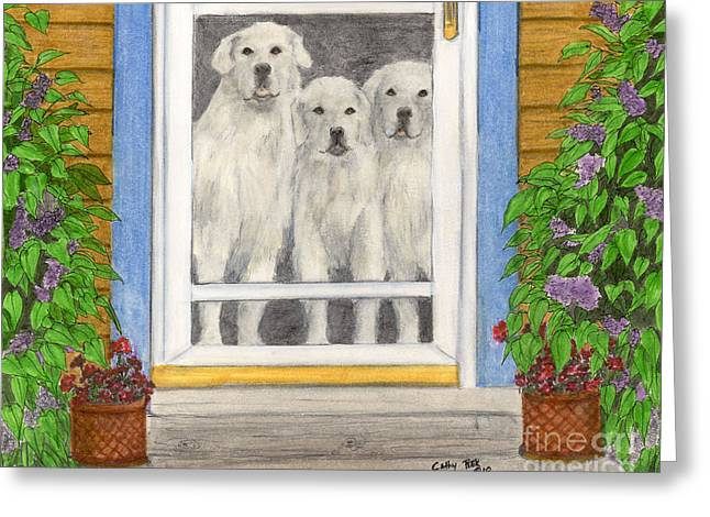 Screened Porchs Paintings Greeting Cards - Great Pyrenees Dogs on Porch Animal Pets Art Greeting Card by Cathy Peek