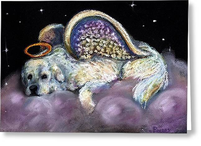 Great Pastels Greeting Cards - Great pyrenees laying Angel Greeting Card by Darlene Grubbs