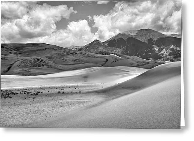 Great Sand Dunes National Preserve Greeting Cards - Great Sand Dunes #6 - Black and White Greeting Card by Nikolyn McDonald