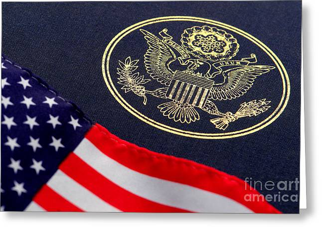 Color Glory Greeting Cards - Great Seal of the United States and American Flag Greeting Card by Olivier Le Queinec