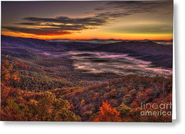 Pisgah National Forest Greeting Cards - Great Smokey Mountains Pink Beds Greeting Card by Reid Callaway