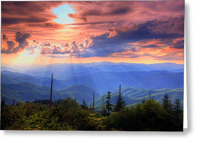 Shining Light Greeting Cards - Great Smoky Mountains  Greeting Card by Doug McPherson