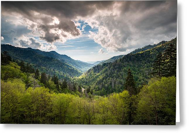 Gatlinburg Tennessee Greeting Cards - Great Smoky Mountains Landscape Photography - Spring at Mortons Overlook Greeting Card by Dave Allen