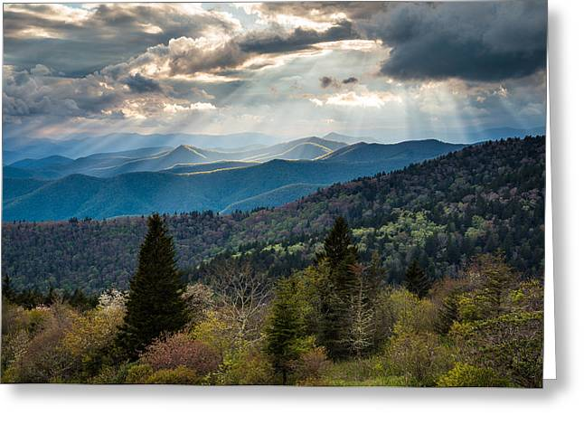 Crepuscular Rays Greeting Cards - Great Smoky Mountains Light - Blue Ridge Parkway Landscape Greeting Card by Dave Allen
