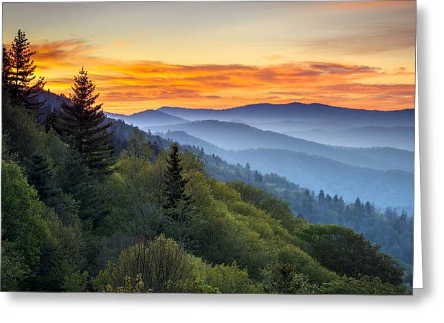 Great Smoky Mountains National Park - Morning Haze At Oconaluftee Greeting Card by Dave Allen