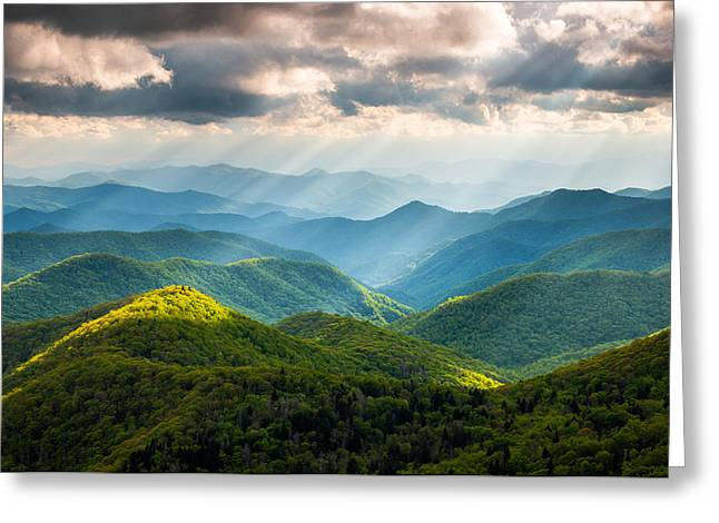 Light Rays Greeting Cards - Great Smoky Mountains National Park NC Western North Carolina Greeting Card by Dave Allen