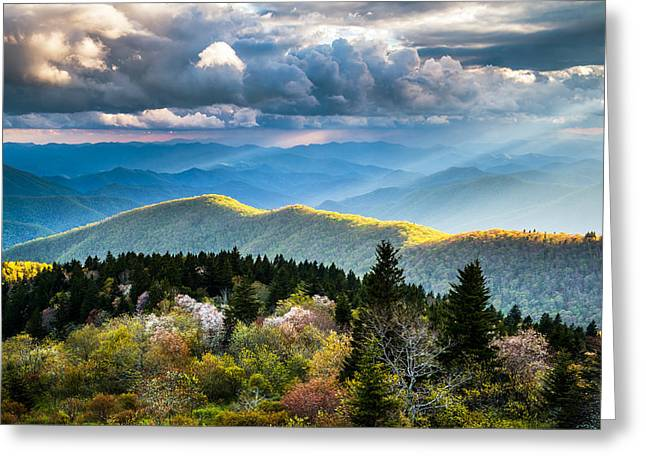 Light Rays Greeting Cards - Great Smoky Mountains National Park - The Ridge Greeting Card by Dave Allen