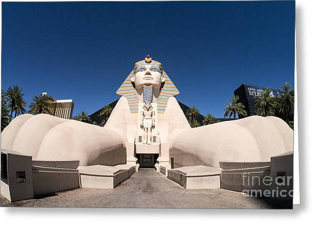 Luxor Greeting Cards - Great Sphinx of Giza Luxor Resort Las Vegas Greeting Card by Edward Fielding