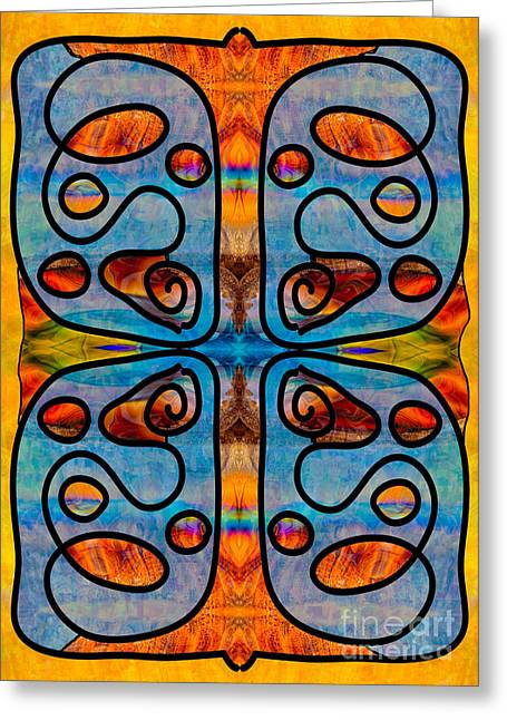Great Mysteries Mixed Media Greeting Cards - Great Spirit Abstract Fabric Design Art by Omaste Witkowski Greeting Card by Omaste Witkowski