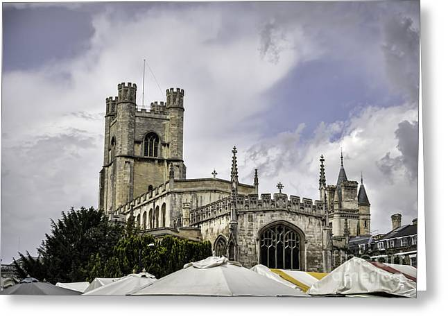 Medieval Temple Greeting Cards - Great St  Marys The University Church Cambridge Greeting Card by Frank Bach