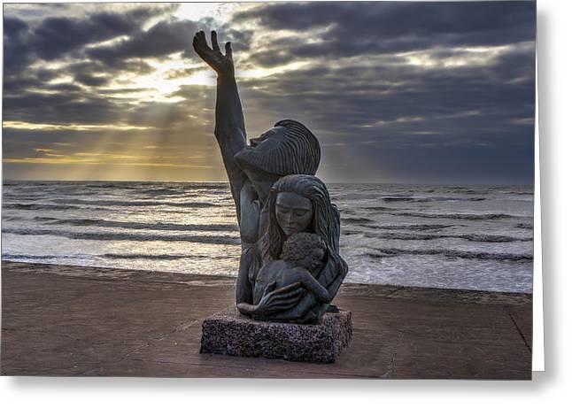 Galveston Greeting Cards - Great Storm Memorial Greeting Card by Mike Harlan