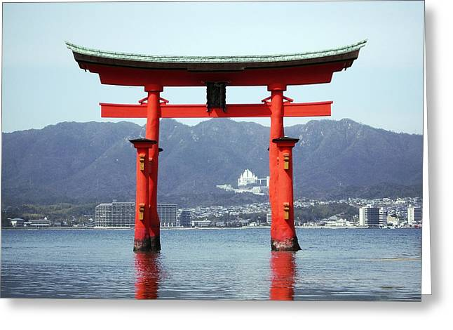 Floating Torii Greeting Cards - GREAT TORII GATE of MIYAJIMA Greeting Card by Daniel Hagerman
