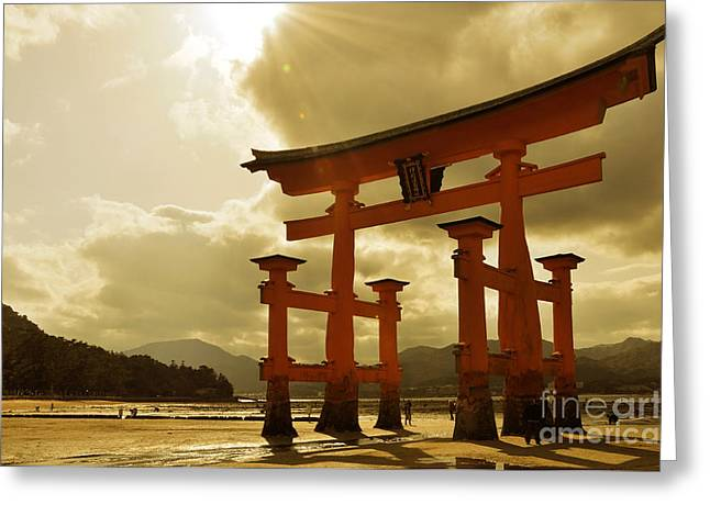 Torii Greeting Cards - Great torii of Miyajima Greeting Card by Delphimages Photo Creations