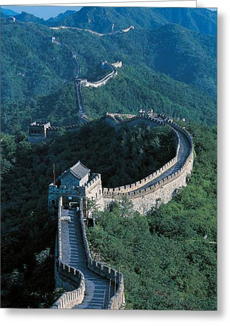 Undulating Greeting Cards - Great Wall Of China Beijing China Greeting Card by Panoramic Images