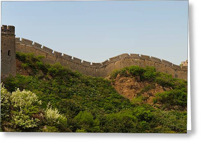 Fortified Wall Greeting Cards - Great Wall Of China, Jinshangling Greeting Card by Panoramic Images