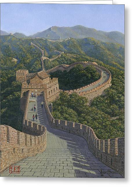 Greeting Cards For Sale Greeting Cards - Great Wall of China Mutianyu Section Greeting Card by Richard Harpum