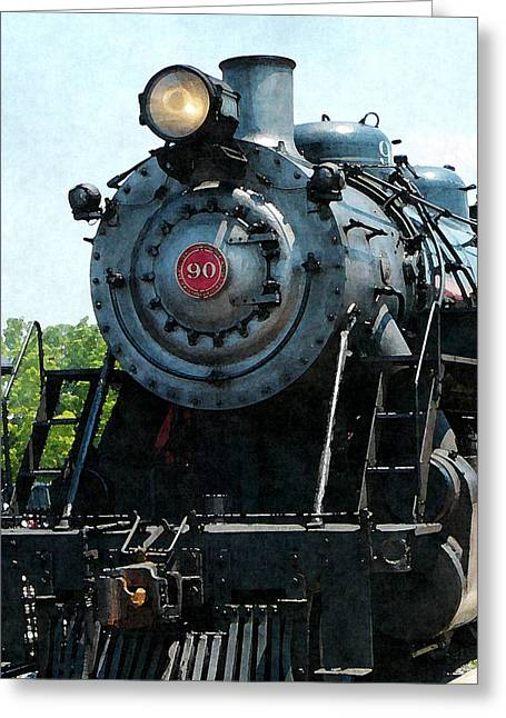 Steam Locomotive Greeting Cards - Great Western 90 Greeting Card by Susan Savad