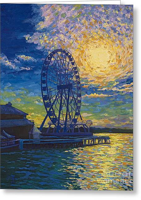 Great Wheel Sunset Greeting Card by Francesca Kee