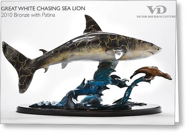 White Shark Sculptures Greeting Cards - Great White chasing Sea Lion Greeting Card by Victor Douieb