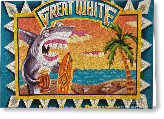 White Shark Greeting Cards - Great White Greeting Card by Cheryl Young