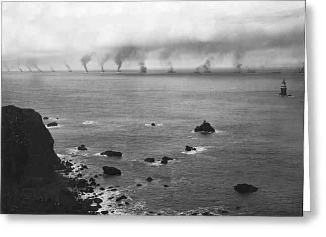 Great White Fleet Visits Sf Greeting Card by Underwood Archives
