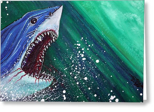 White Shark Paintings Greeting Cards - Great White Gauntlet Greeting Card by Laura Barbosa