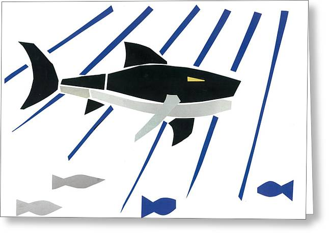 White Shark Mixed Media Greeting Cards - Great White Shark Greeting Card by Earl ContehMorgan