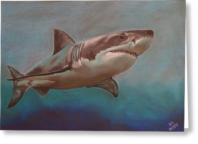 White Shark Pastels Greeting Cards - Great White Shark Greeting Card by Kevin Hubbard