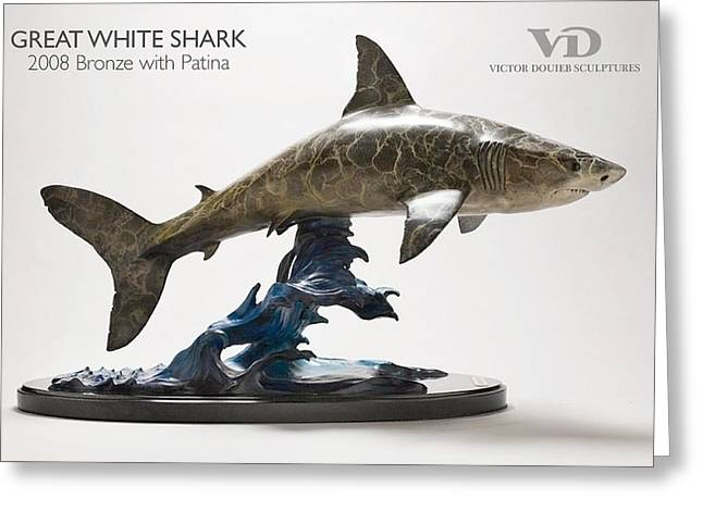 White Shark Sculptures Greeting Cards - Great White Shark Greeting Card by Victor Douieb