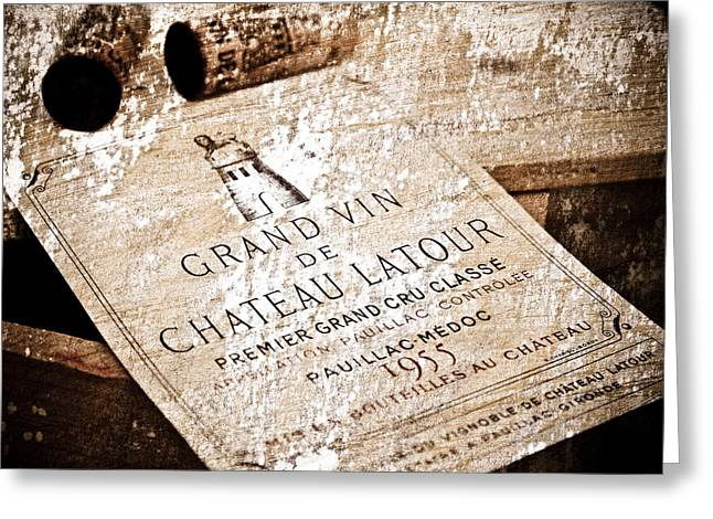 Style Mixed Media Greeting Cards - Great Wines Of Bordeaux - Chateau Latour 1955 Greeting Card by Frank Tschakert