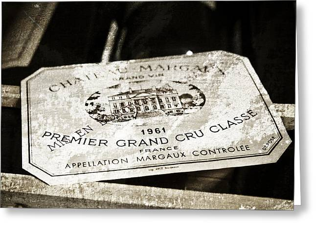Great Wine Greeting Cards - Great Wines Of Bordeaux - Chateau Margaux 1961 Greeting Card by Frank Tschakert