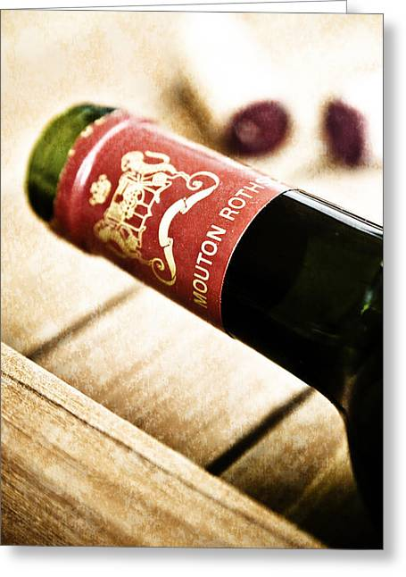Fine Mixed Media Greeting Cards - Great Wines Of Bordeaux - Chateau Mouton Rothschild Greeting Card by Frank Tschakert